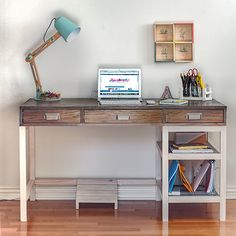 This DIY Modern Farmhouse desk with storage is a great beginner build! The simple plans will help you build your own desk in no time.