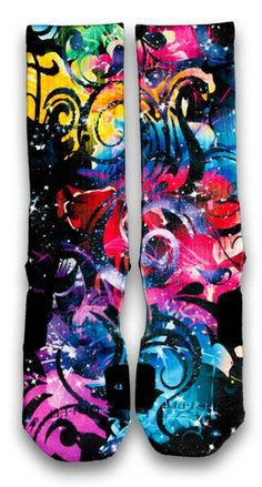 EDC Nike Custom Elite Socks. Featuring multi neon colors in flora pattern, this pair of custom elite socks embodies the bright lights and spirit of EDCLV. A splash of stars are also added to enhance the look and feel of the design. All I gotta say is, Good times.