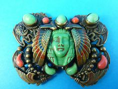 Art deco Neiger Egyptian revival Czech brooch