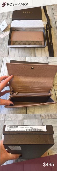 ✨Authentic Gucci Bree Wallet✨ Authentic Gucci Bree Wallet. My fiancé bought this for me last Christmas however I love LV and just purchased a new wallet ❌NO TRADES❌ it's in good condition. Very very light wear on the bottom sides. Gucci canvas with hazel leather trim. Leather string with interlocking G charm. 12 slots for credit cards and 3 compartments for bills. Snap closure. ❤️FIRM ON THE PRICE❤️ Gucci Bags Wallets