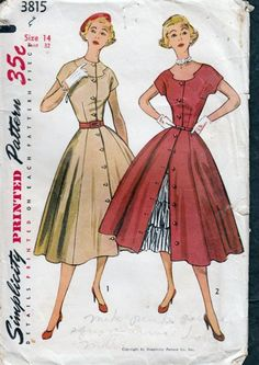 Vintage 1950 Dress Button Front with Petticoat Simplicity 3815 bust 32