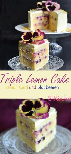 Rezept für Triple Lemon Cake mit Blaubeere und Stiefmütterche. Zitronenkuchen mit zitronigem Rührteig, gefüllt mit  Lemon Curd und  Blaubeeren mit Zitronen-Creme Cheese Frosting.