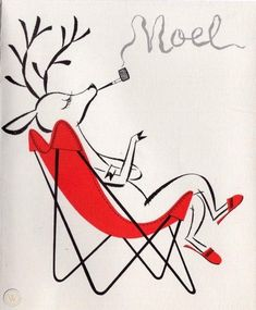 Eames Chair Reindeer Deer Pipe Noel Word Art MCM VTG Christmas Greeting Card | #1946661184