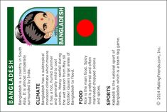 Bangladesh Fact Card from MakingFriends.com for World Thinking Day