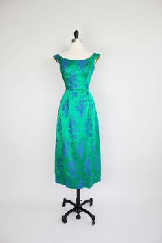 1960's green and blue brocade dress - gorgeous colour!