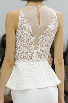 Giambattista Valli Spring 2013 - white peplum and lace dress Haute Couture Style, Beautiful Gowns, Beautiful Outfits, Lace Back Wedding Dress, Lace Wedding, Spring Wedding, Wedding Dresses, Fashion Details, Fashion Design