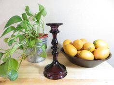 c1920's Tiffin Amethyst Glass Antique Candlestick Holder by GhicChicBoutique on Etsy, $50.00