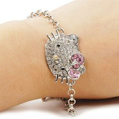 Cute Crystal Kitty Face Bling Bracelet Sparkle Diamante Jewelry Visit: http://bestrongnow.weebly.com/shopping-online.html