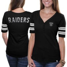 47 Brand Oakland Raiders Ladies Playoff T-shirt - Black Oakland Raiders  Merchandise 8190a6460