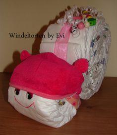 Windelschnecke 'Pink Pony', süsse Windeltorte von Windeltorten By Evi auf DaWanda.com