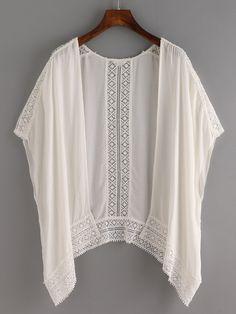 Shop Lace Trimmed Kimono - White online. SheIn offers Lace Trimmed Kimono - White & more to fit your fashionable needs.