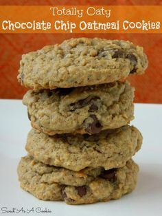 Chocolate Chip Oatmeal Cookies by www.sweetasacookie.com   The best oatmeal cookie you will ever have! It's soft and chewy #oatmeal #Cookie
