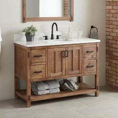 bathroom vanity Morris Console Vanity for Rectangular Undermount Sink - Bathroom Vanities - Bathroom Rustic Bathroom Vanities, Vanity Cabinet, Single Bathroom Vanity, Vanity Sink, Bathroom Cabinets, Bathroom Furniture, Bathroom Storage, Bathroom Interior, Bathroom Ideas