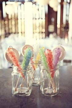 A rock candy centerpiece is a really cute summery way to jazz up any table.