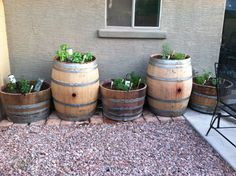 Here's the finished project! All barrels are on wheels, corks mark the plant, wine bottles slowly add water :)