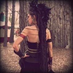 Warrior Queen, Woman, Renaissance Faire, Sherwood Forest Faire, Medieval, Gothic, Braids, Dreads, Leather, Leatherwork, Feathers, Black, Costume, Nature, Makeup, Cosplay, Larp, Valkyrie, Barbarian, Long Hair