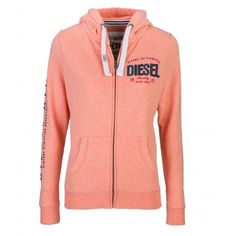 Brona Coral Price: € 54.00     Diesel ladies full zip hood  Lined hood with white rope draw pulls  Hidden metal zip with logo zip  Diesel applique and embroidery on breast  Logo flock print on sleeve  80% cotton 20% polyester  Brushed back fleece interior