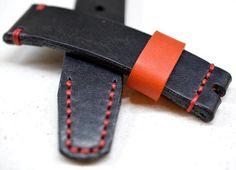 22mm handmade Heavy leather black watch strap
