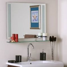 The Art Gallery bathroom Unique Bathroom Mirror Cabinets Design With Fancy Round Hole Model And Completed With Likeable Glass Shampoo Shelves Cool Bathroom Mirr u