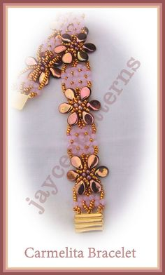 jayceepatterns Carmelita Bracelet pip beads, 2mm pearls, 11/o and 15/o  and 3mm crystals.