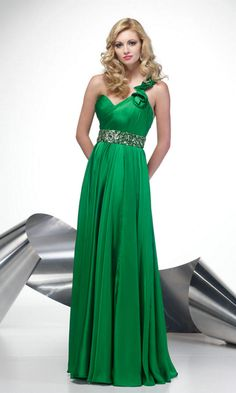One Shoulder Sweetheart High Beaded Elegant Ruched Long Kelly Prom Dress
