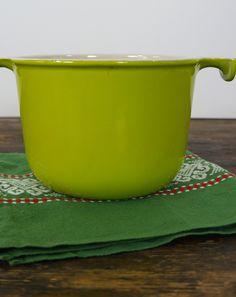 Lichtgroene Le Creuset fonduepan van Enzo Mari