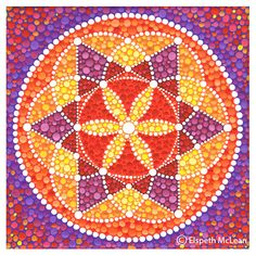 sacred geometry mandala by Elspeth McLean Mandala Art, Mandala Painting, Mandala Canvas, Elspeth Mclean, Arte Country, Dot Art Painting, Star Flower, Framed Prints, Art Prints