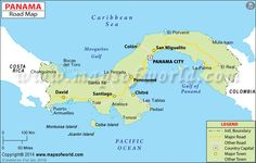 Panama Road Map Countries In Central America, List Of Countries, Countries Of The World, Panama Canal, Panama City Panama, Coiba, 7 Continents, County Map, Pacific Ocean