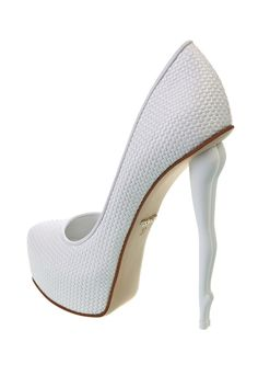 DUKAS White Braided Pumps with Signature Legs Heel #Shoes #Brautschuhe #Weddingshoes