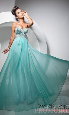 Teal Empire Style Prom Dress