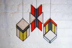 Stained Glass Elements Chevron Arrows set of 3 by BespokeGlassTile, $98.00