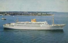 BERGENSFJORD - Norwegian America Line - Simplon Postcards - www.simplonpc.co.uk  Beautiful old-style cruise ship. My father worked on board in the 60s