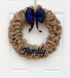 Police Family Wreath  LEO wreath  LEOW Burlap by CharmingComforts