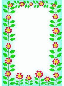 Un papier à lettre décoré par des fleurs et des feuilles vertes, à imprimer Page Borders Design, Border Design, School Border, Boarders And Frames, Math Boards, Notebook Art, Frame Background, Borders For Paper, Vintage Roses