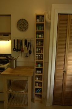 Ikea birch CD tower / tall skinny shelf, great use of space though for the kitchen. Small Apartments, Small Spaces, Cd Storage, Tiny Living, Home Organization, Kitchen Decor, Ikea, Organising, Sweet Home