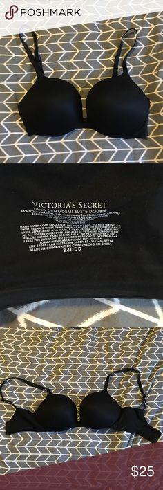 Black Victoria's Secret Bra 34DDD Double lined, black Demi bra, adjustable straps, size 34DDD, hardly worn Victoria's Secret Intimates & Sleepwear Bras