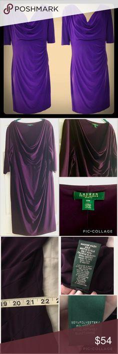 "Classic Ralph Lauren knee length dress Knock em dead in this classic yet sexy plum purple Ralph Lauren faux wrap dress. Like new condition. 24"" across pit to pit, 22"" at waist, 44"" long. Lauren Ralph Lauren Dresses Midi"
