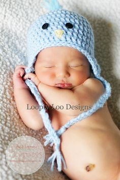 How stinking cute is this!!!!???  Baby Boy Crochet Blue Bird Earflap Hat  Photo by  LooptyLooDesigns. , via Etsy.