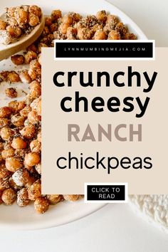 Chickpeas are a great way to add protein to your diet and everyday eating habits! Have you ever had super crunchy oven-roasted chickpeas? This Crunchy Roasted Cheesy Ranch Chickpeas feels like you're eating chips! Make this simple and easy crispy chickpea snack today! #roastedchickpeas #crunchychickpeas #crispychickpeas #healthysnacks #crunchysnacks Chickpea Snacks, Chickpea Recipes, Healthy Snacks, Oven Roasted Chickpeas, Quick Vegetarian Meals, Vegetarian Cheese, Eating Habits, Cookies Et Biscuits