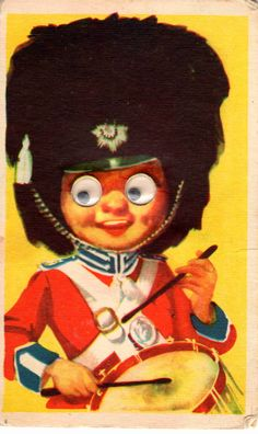 Vintage moving eyes postcard,english soldier, 50's