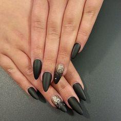 Black matte stilettos with gold glitter