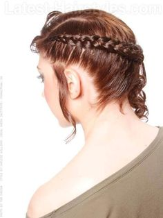 Hairstyle with Side Corn Row and Curls Side View