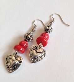 Check out Romantic Red Shell and Coral Bead Earrings with Antique Silver Heart Charm on whiteroofgifts
