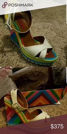 Valentino wedge Pre-owned. In super great condition. Bought shoes from neiman marcus. Comes with box Valentino Shoes Espadrilles