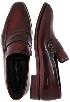PAUL PARKMAN ® Men's Penny Loafer - Antique Burnished Bordeaux Leather Upper & Reddish Leather Sole