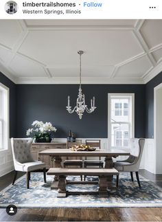 Dining Room blue with grey pictures for dining room decor - Internal Home Design How Mothers Can And Dining Room Paint Colors, Dining Room Blue, Dining Room Walls, Dining Room Design, Dining Room Wainscoting, Dark Dining Rooms, Wall Colors, Dark Grey Walls Living Room, Formal Dinning Room