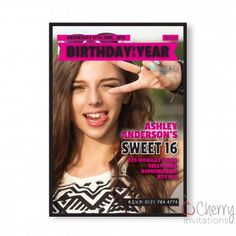 Trending Magazine Photo Insert Themed Single Sided Personalised Birthday Invitations - From as little as per card - Including free envelopes and delivery on all orders! Sweet 16 Birthday, 16th Birthday, It's Your Birthday, Free Printable Birthday Invitations, Personalized Invitations, Ashley Anderson, Cover Photos, Free Printables, Envelopes