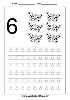 traceable number worksheets 6 - Google Search