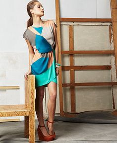 doo.ri for Impulse Dress, Scoop Neck Short Sleeve Geometric Printed Draped Wrap Macy's- $75.00