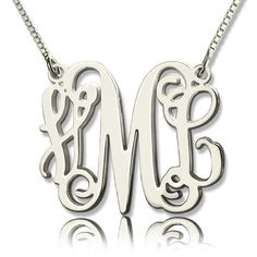 Custom Monogram Initial Necklace, Discover More Personalized Monograms at GETNAMENECKLACE.COM